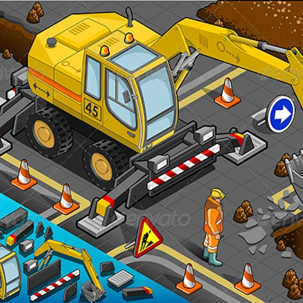 Isometric Yellow Excavator with Four Arms