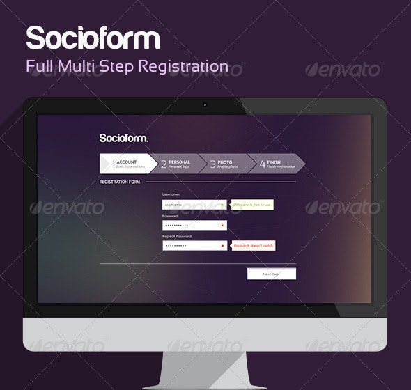Socioform - Full Sign Up Form - Forms Web Elements