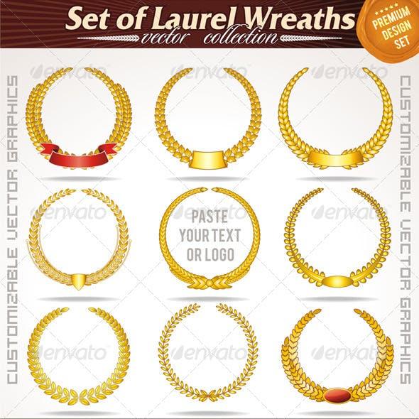 Set of Gold Laurel Wreaths