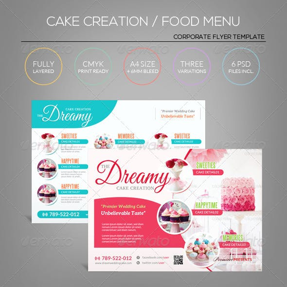 Cake / Sweet Icecream/ Candy Shop - Flyer Template