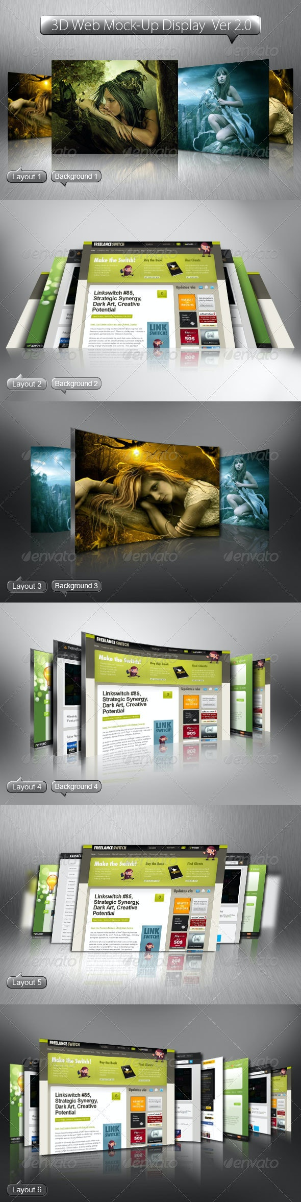 3D Web Mock-Up Display Ver 2.0 - Website Displays