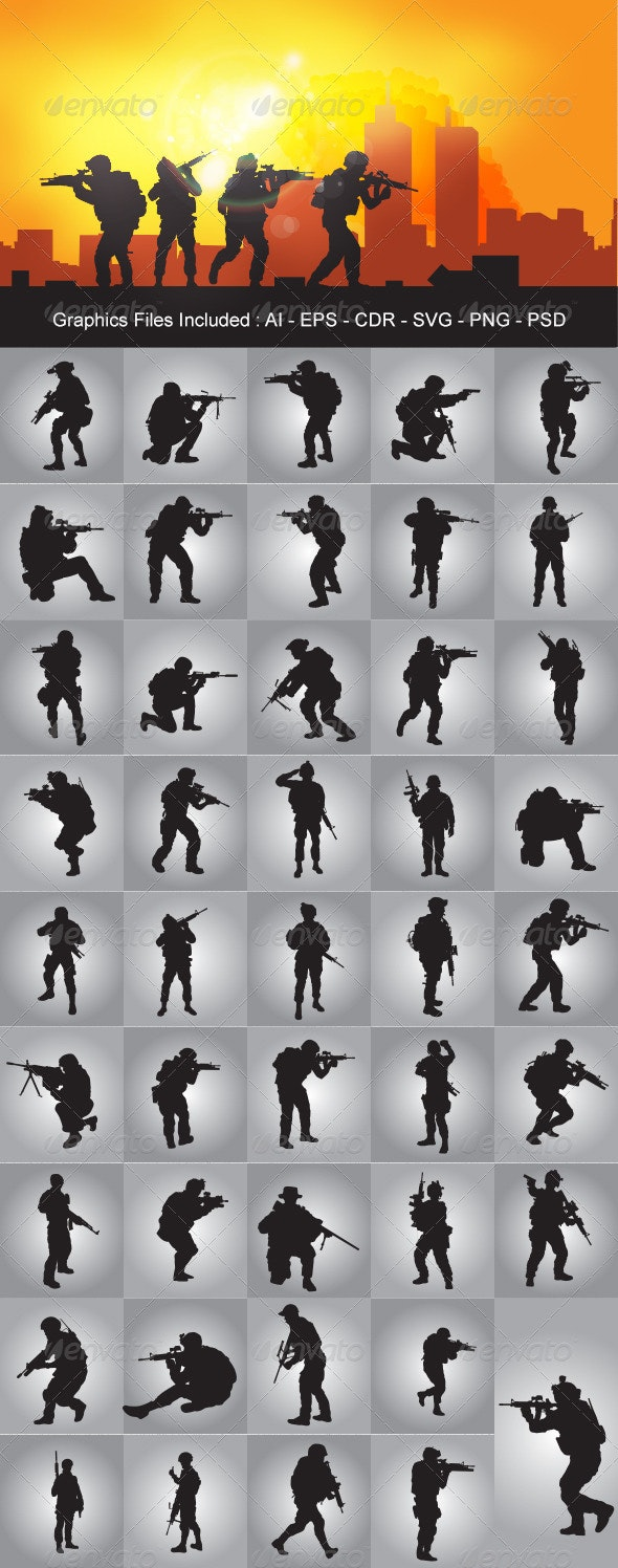 Soldier Silhouettes - People Characters