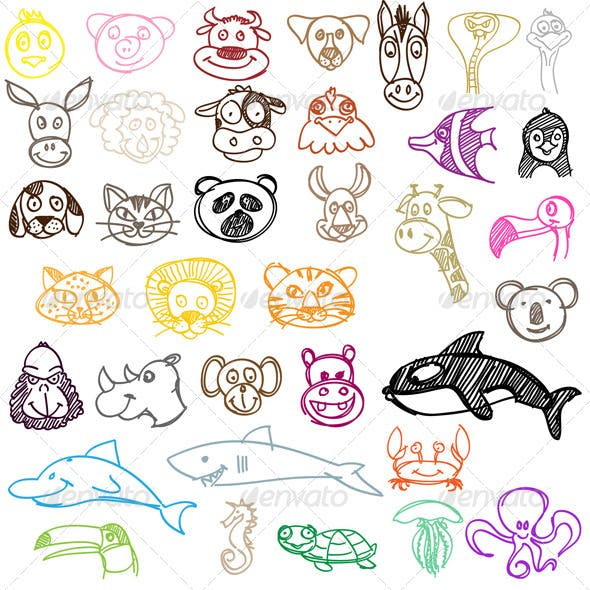 Hand Drawn Animal Icons Set