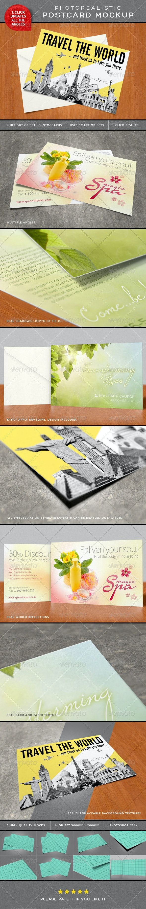 Photorealistic Postcard Mock-Ups - Miscellaneous Print