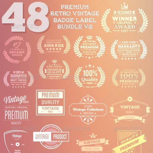 Premium Retro Vintage Badeg Label Bunde V2