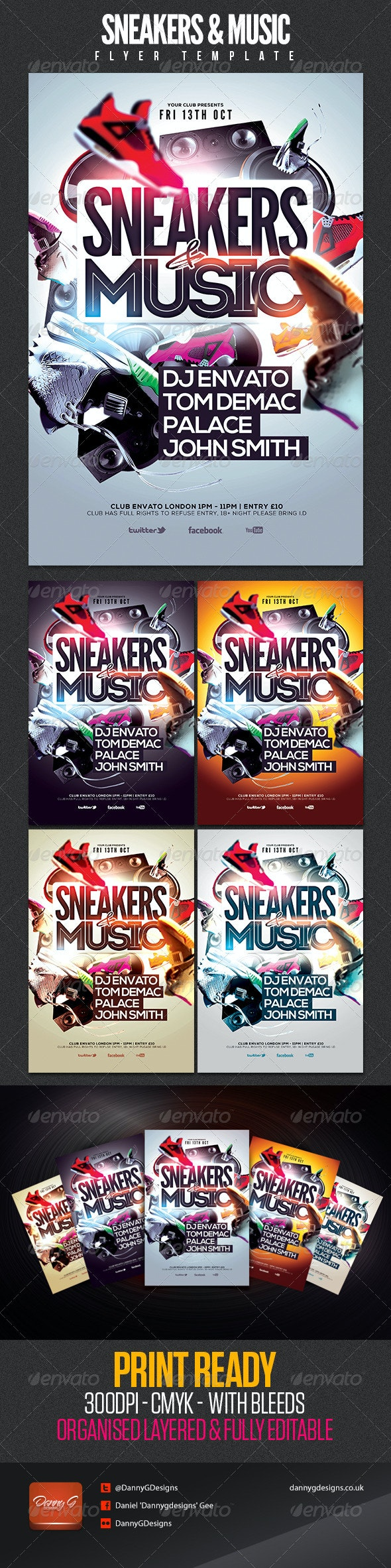 Sneakers & Music Flyer Template - Clubs & Parties Events