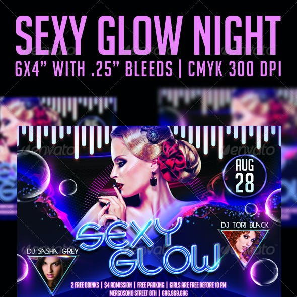 Sexy Glow Night Flyer Template