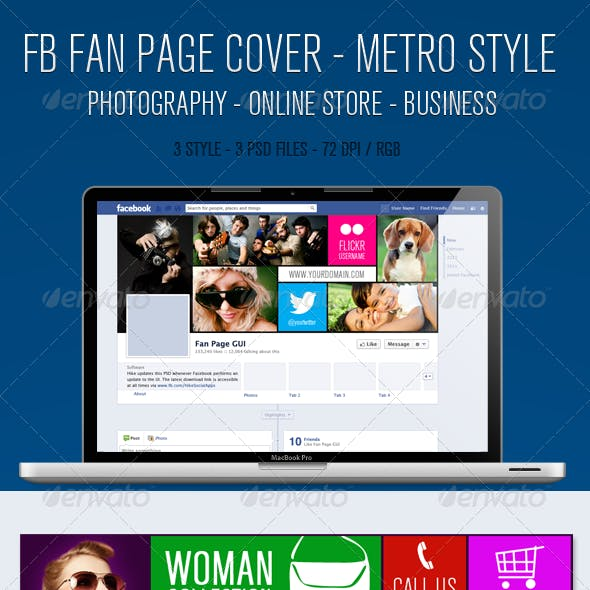 Facebook Fan Page Timeline Cover - Metro Style