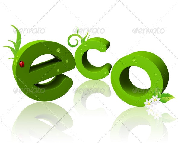 "3D ""Eco"" Text  - Text 3D Renders"