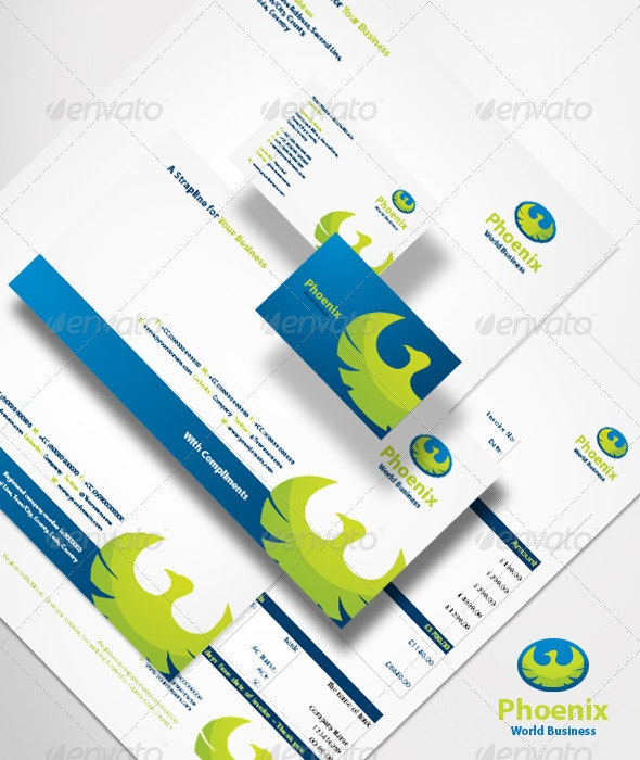Phoenix World Business Brand Identity System - Stationery Print Templates