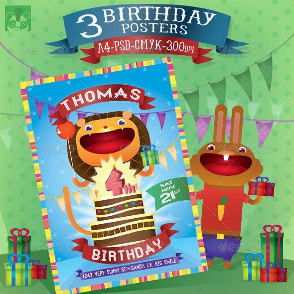 3 Birthday Posters