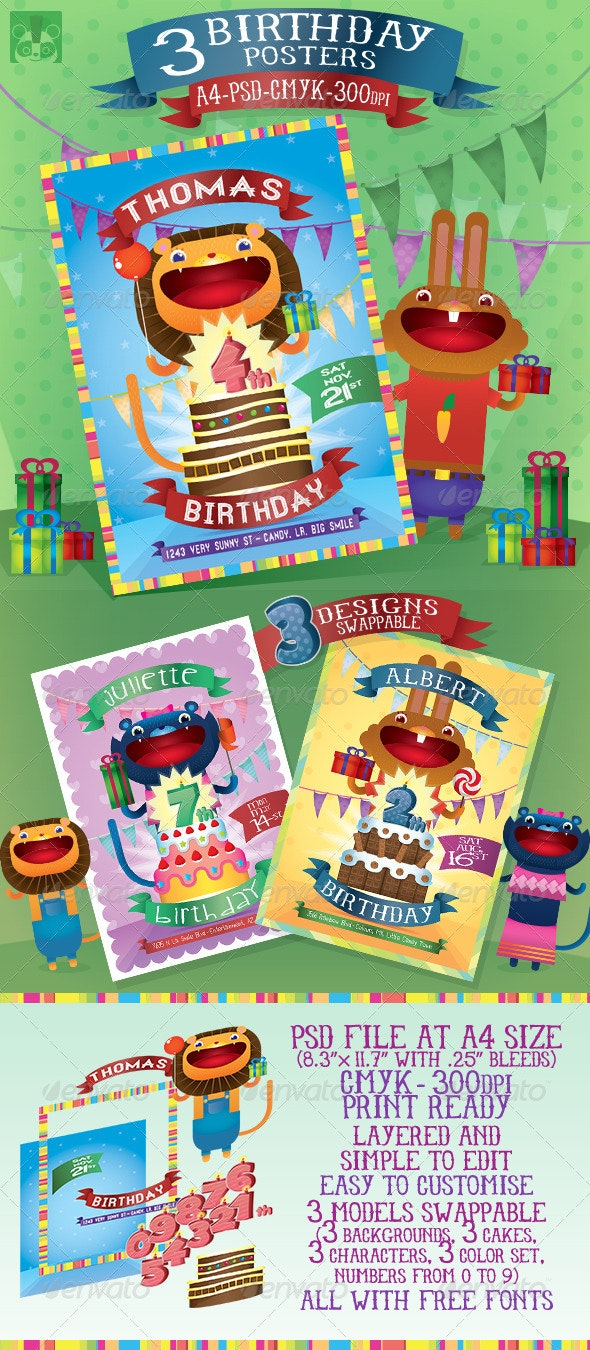 3 Birthday Posters - Birthday Greeting Cards