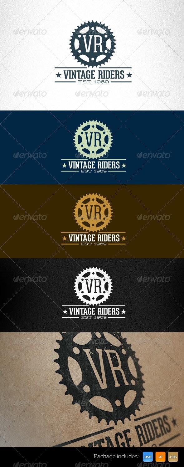 Vintage Riders Bike Gear Retro Logo Template - Objects Logo Templates