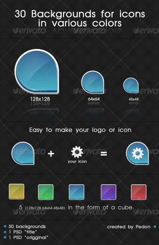 3D Backgrounds For Icons In Various Colors - Web Icons