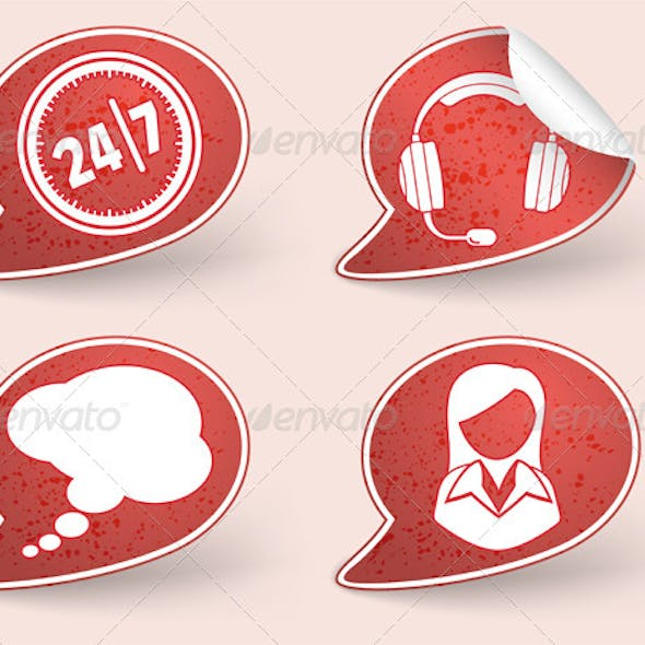 Collect Sticker with business woman and consultant