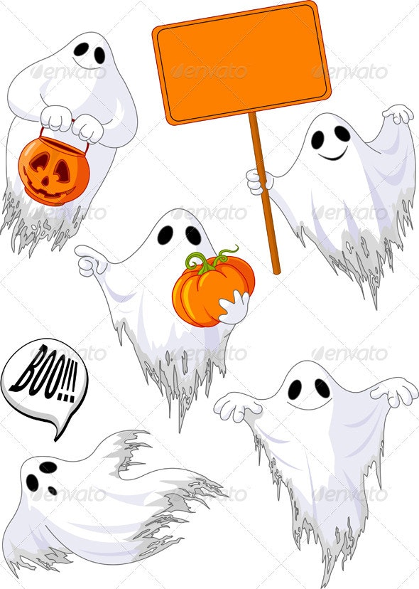 Set of cute ghosts - Seasons/Holidays Conceptual