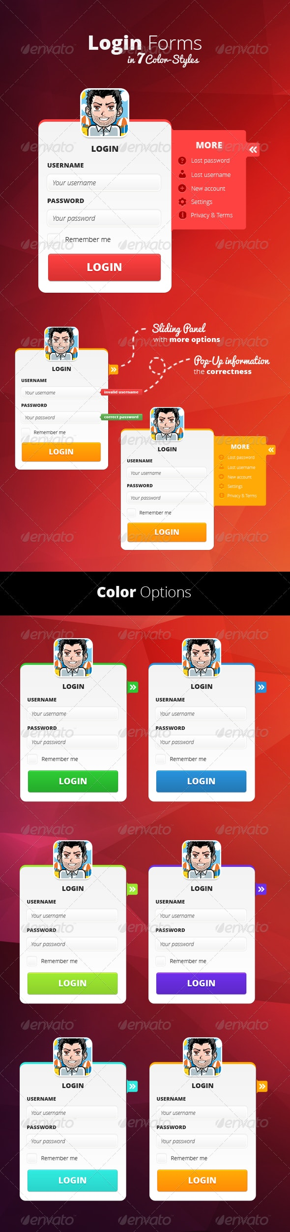Login Form in 7 Color-Styles - Forms Web Elements