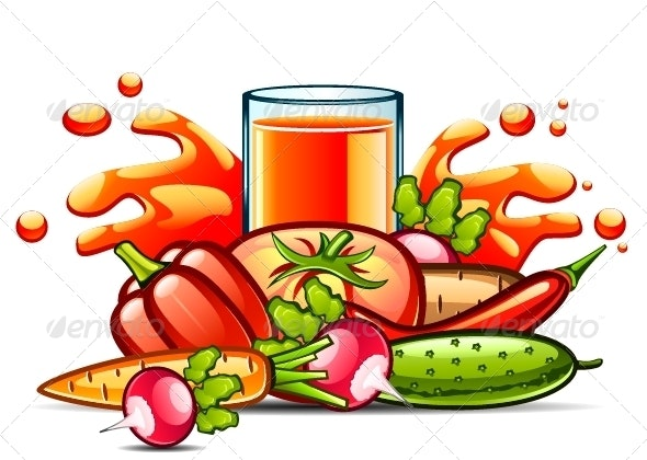 Natural Juice and Vegetables