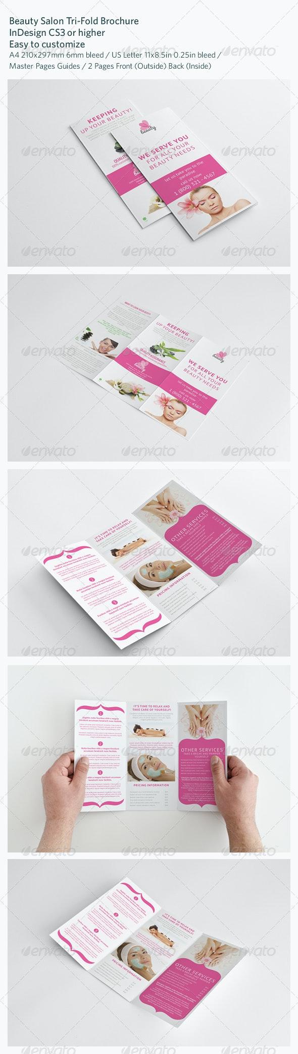 Beauty Salon Tri-Fold Brochure - Brochures Print Templates