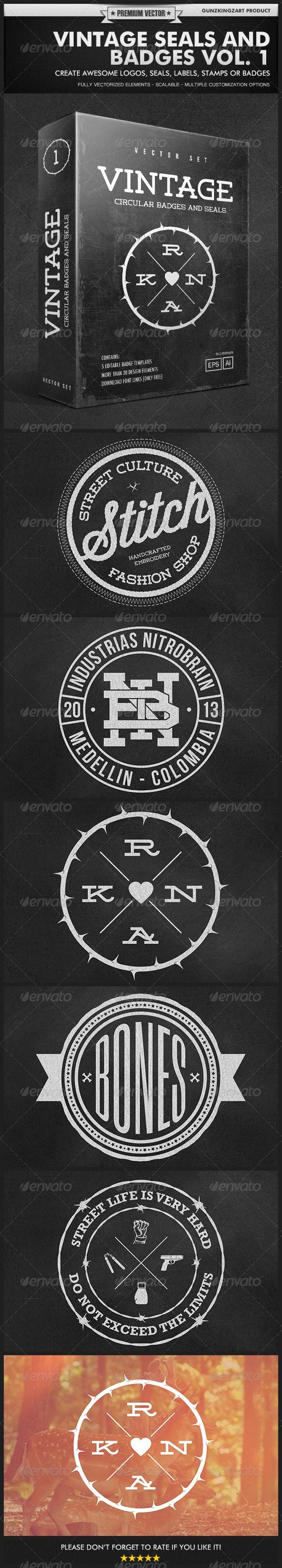 Vintage Seals and Badges Vol. 1 - Badges & Stickers Web Elements