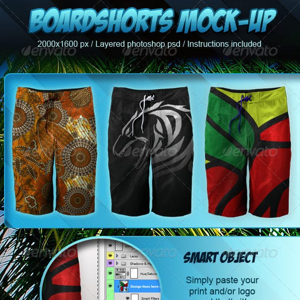 Photorealistic Boardshorts Mock-up