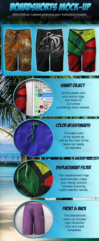 Photorealistic Boardshorts Mock-up - Miscellaneous Apparel