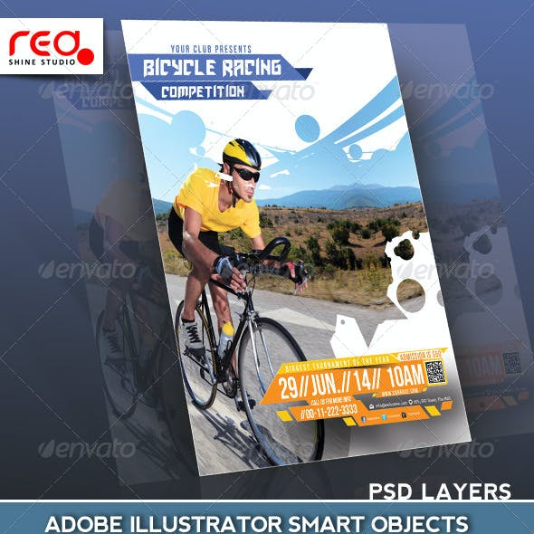 Bicycle Racing Competitions Flyer Poster Template