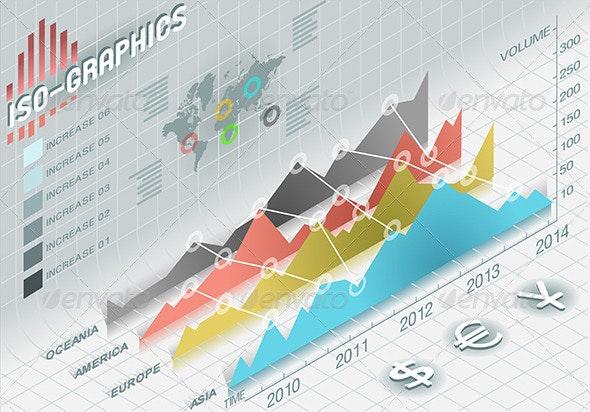 Isometric Infographic Histogram Set Elements