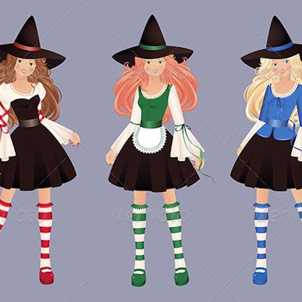 Three pretty witches