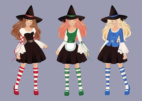 Three pretty witches - Halloween Seasons/Holidays