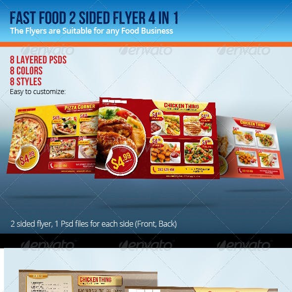 Fast Food Double Sided Flyer 4 in 1