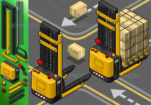 Isometric Forklift in Two Positions in Rear View