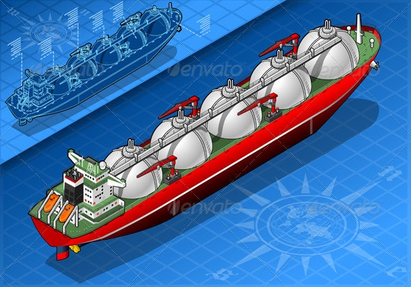 Isometric Gas Tanker Ship Isolated in Front View