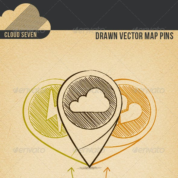 Drawn Vector Map Pins