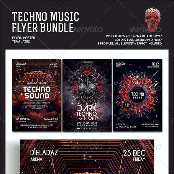 Techno Music Flyer/Poster Bundle