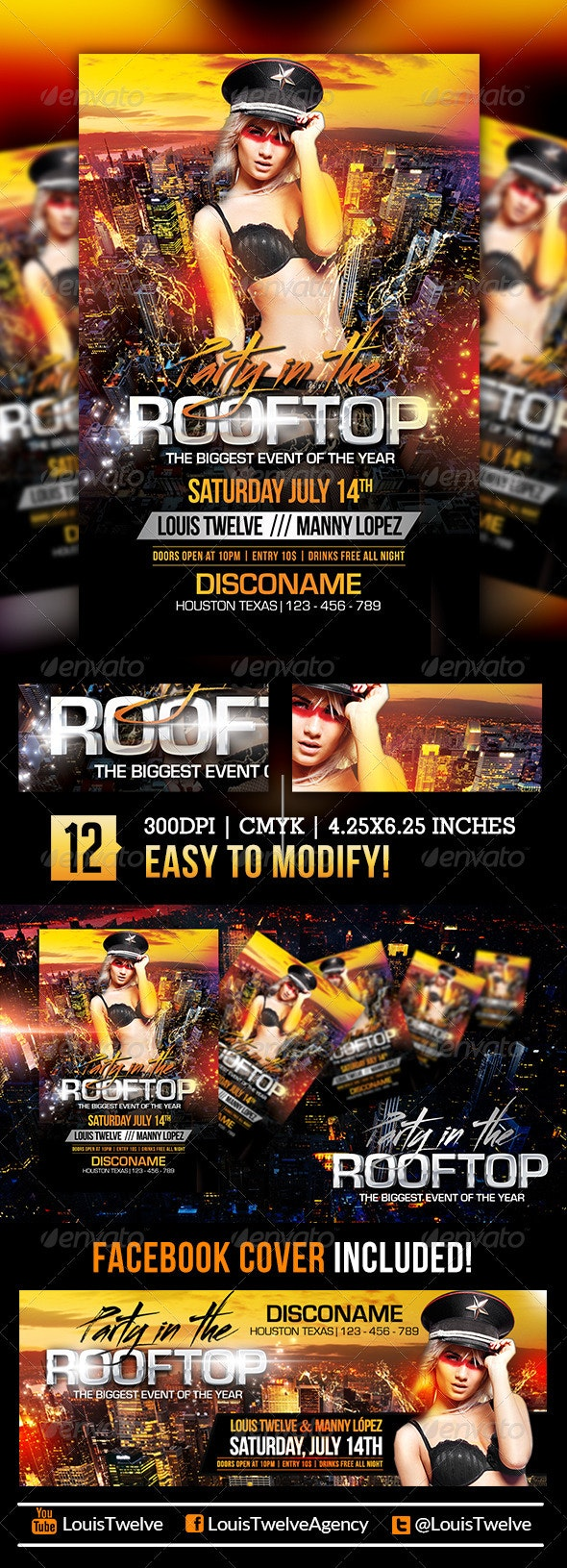 Party in the Rooftop | Flyer + Facebook Cover - Clubs & Parties Events