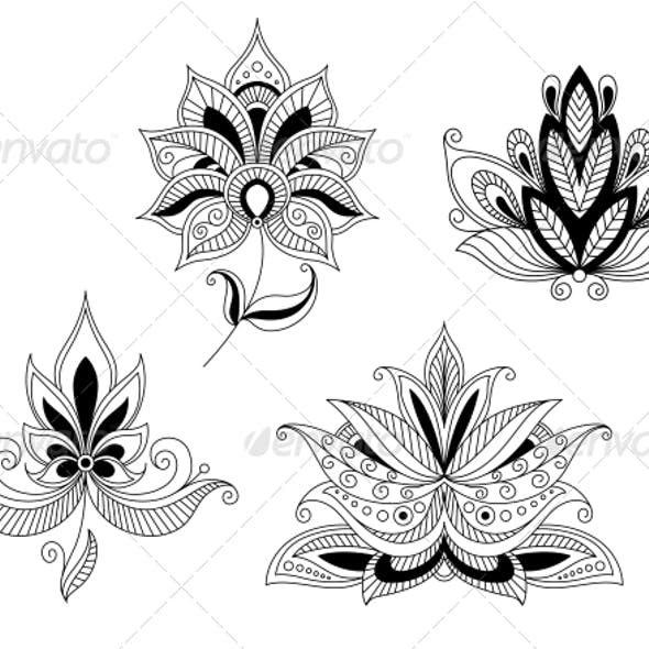 Set of Indian and Persian Flower Blossoms