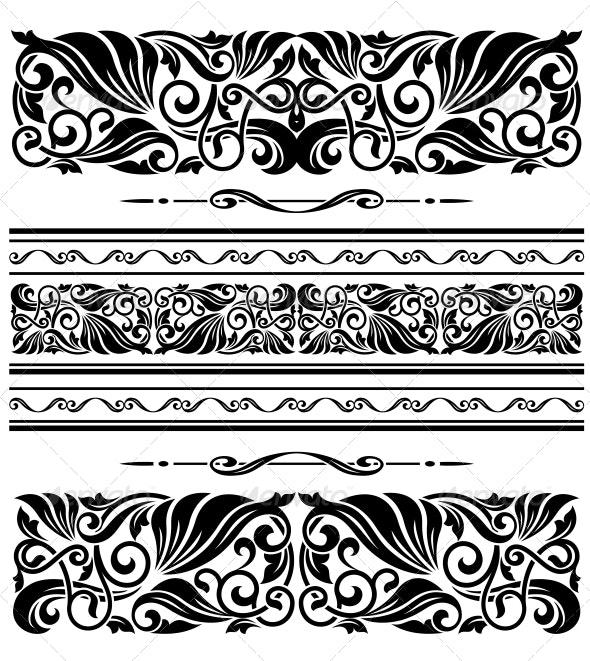 Decorative Ornaments and Patterns - Borders Decorative