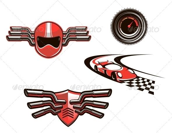 Elements and Symbols of Racing Sport - Sports/Activity Conceptual