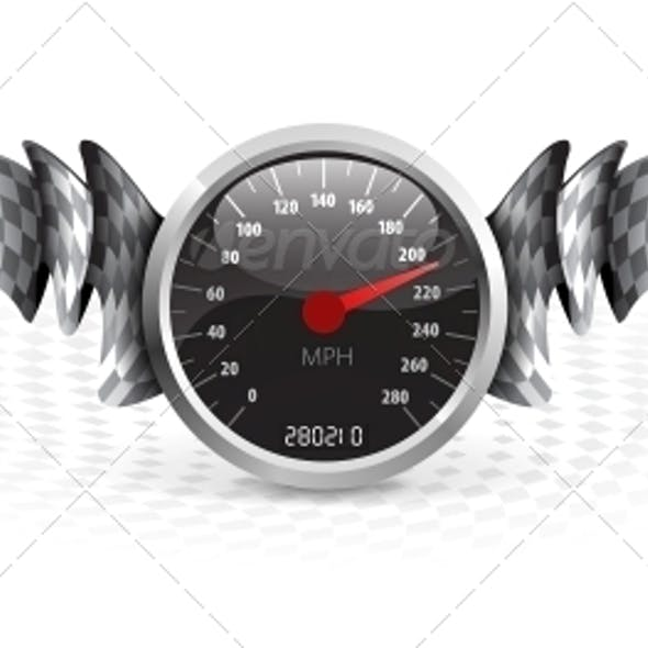 Racing Emblem with Speedometer