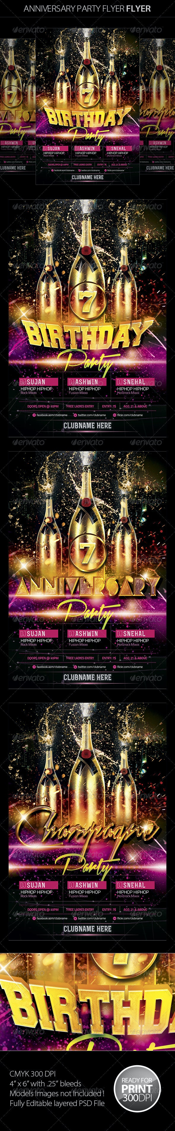 Birthday/Anniversary Party Flyer - Clubs & Parties Events