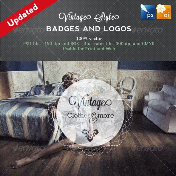 8 Vintage Style Badges