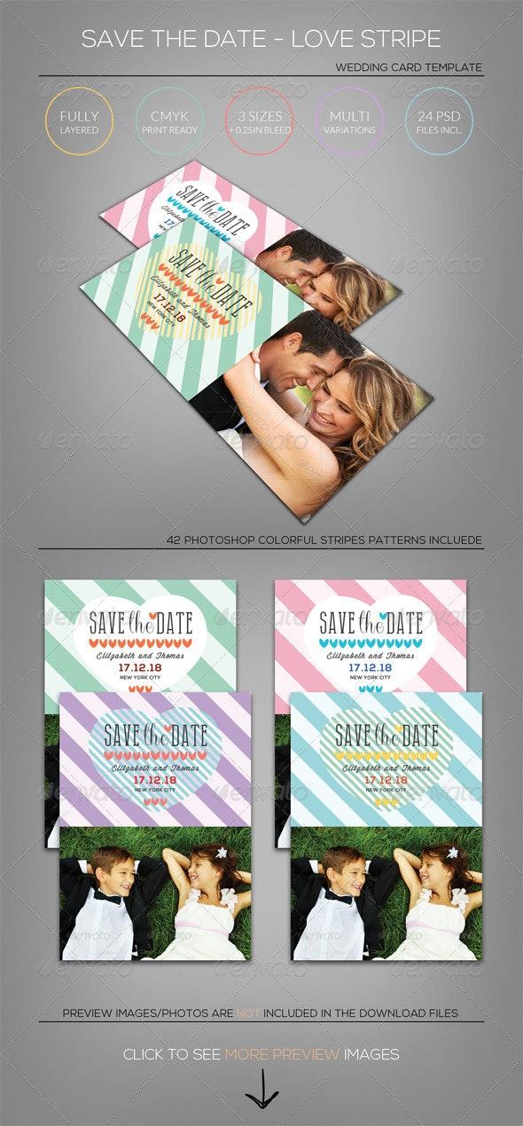 Wedding - Save the Date - Love Stripe - Weddings Cards & Invites