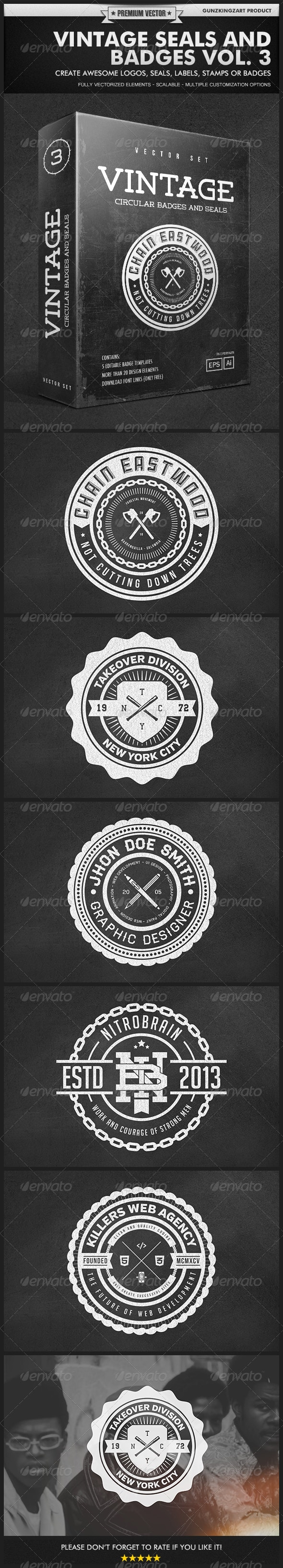 Vintage Seals and Badges Vol. 3 - Badges & Stickers Web Elements