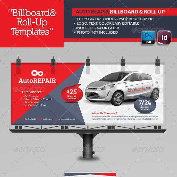 Automobile Repair Billboard Template