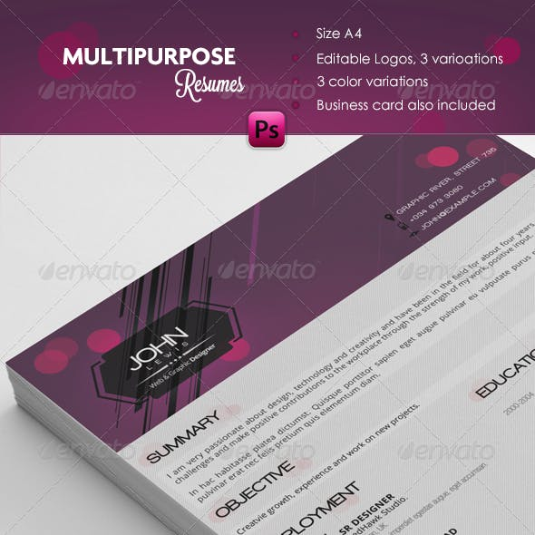 Multipurpose Resume + Cover Letters