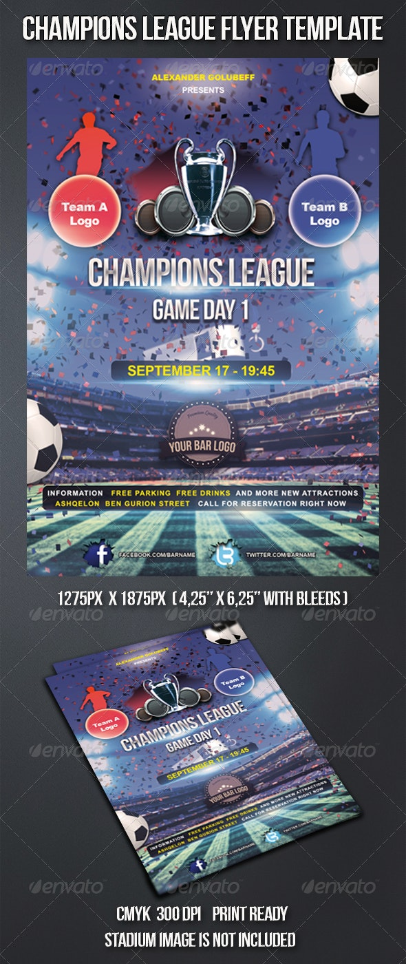 Champions League Football Flyer Template - Sports Events