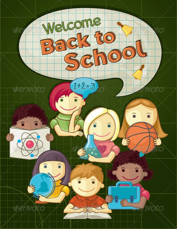 School Concept Illustration with Kids