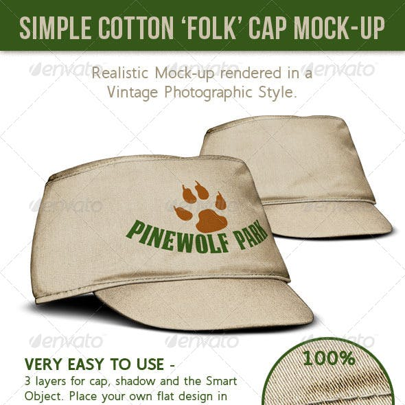 Cap. Cotton Cloth or Canvas Folk Style Hat
