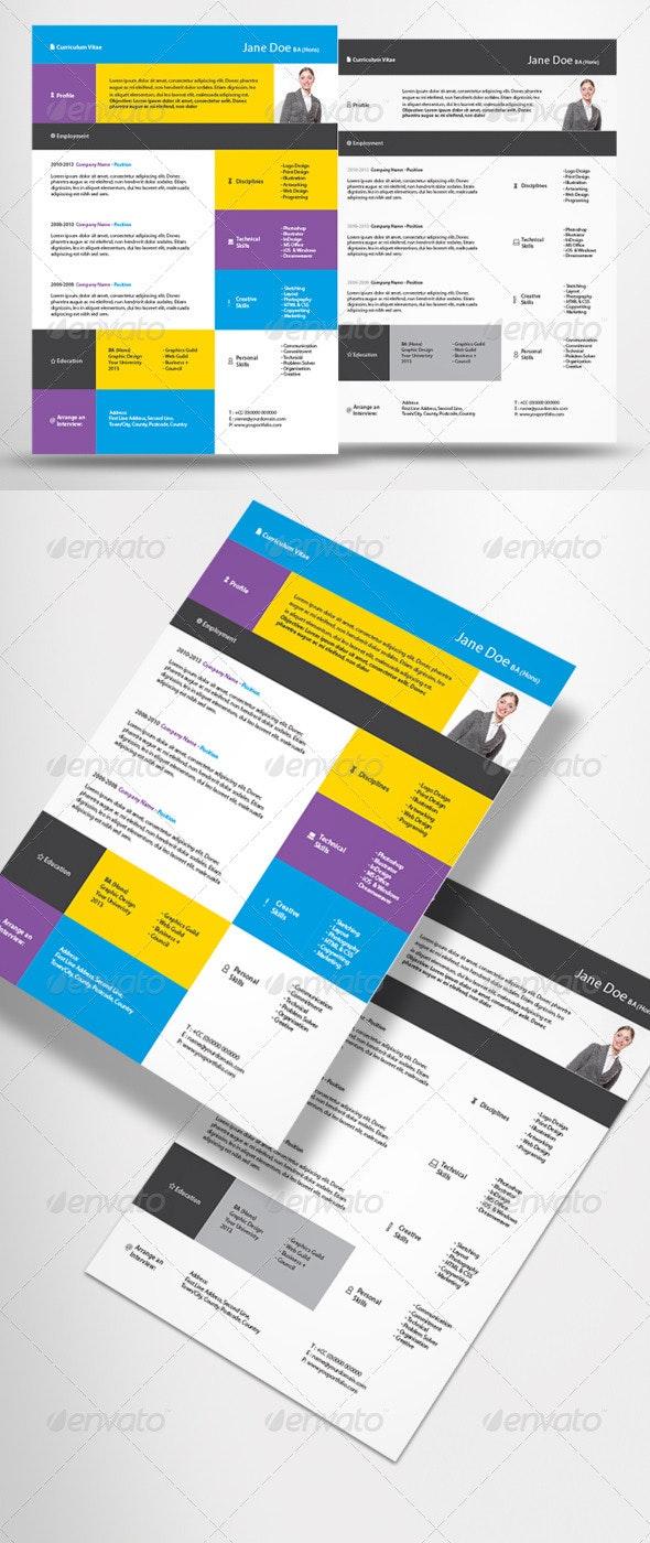 2 Piece Contemporary CV - Resume - Resumes Stationery